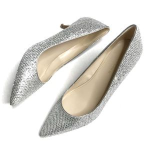 Marc Fisher Silver Glitter Pointed Toe Heels 9.5
